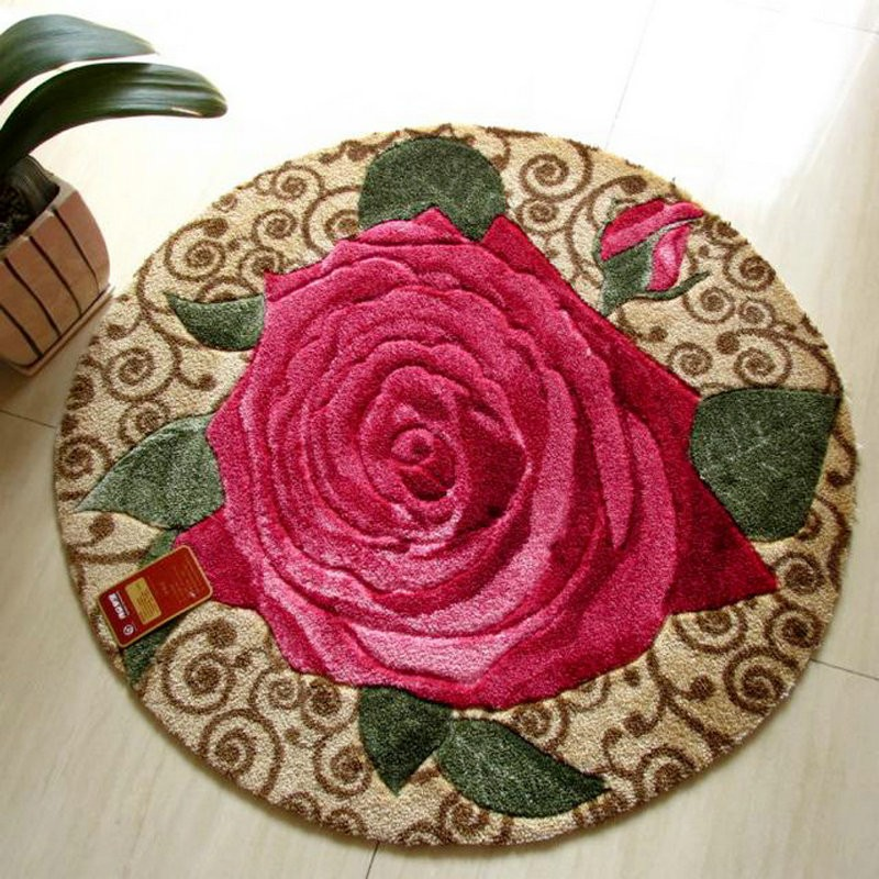 Round Rug Red Rose Carpets For Living Room Mat Rug/ Shaggy Carpet For  Bedroom Mats