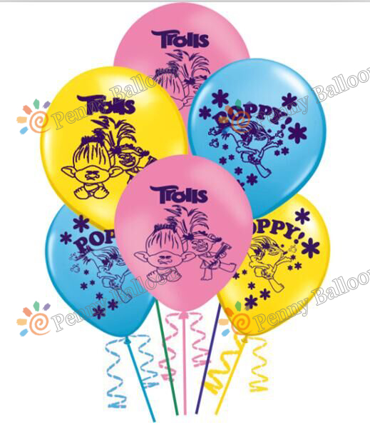 12inch 6pcs/lot Trolls balloon Trolls Poppy Latex Balloons Birthday Party Decoration Toys For Kids Globos Marriage Decoration