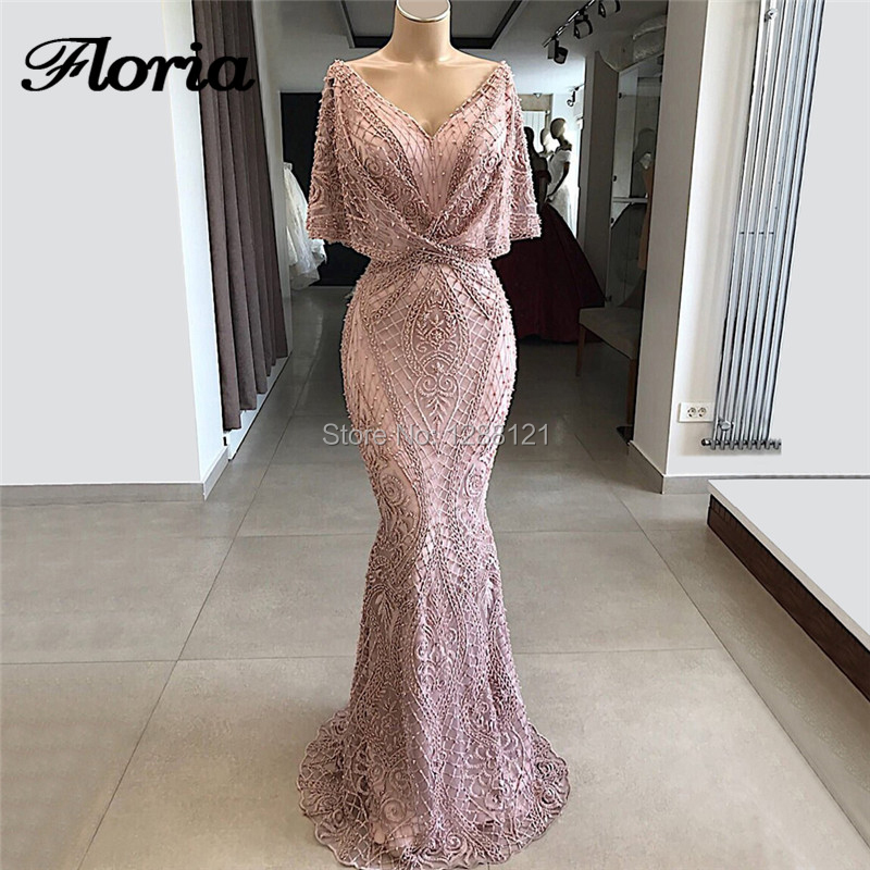 Couture Dubai Lace Beading   Evening     Dresses   2019 Hot Handmade Islamic Saudi Arabic Prom   Dress   Gown Kaftans Middle East Vestidos