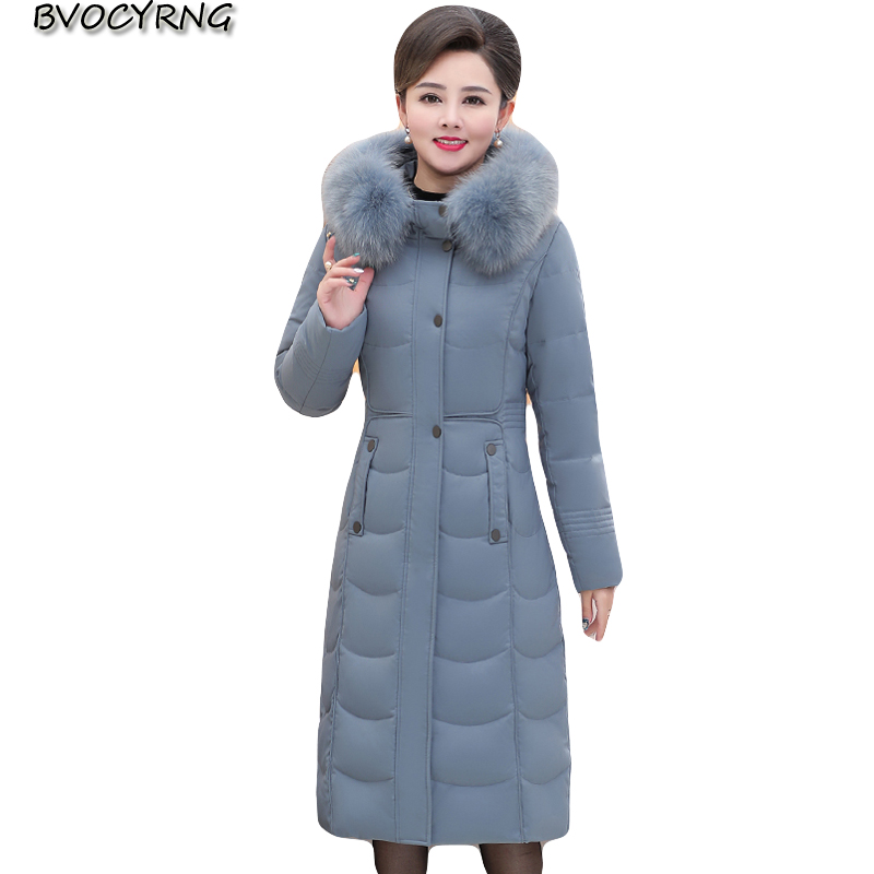 new Plus size Women Winter jacket High end   Down   Parkas Thicken Hooded   Coat   Female Middle aged slim outerwear long   down     Coats