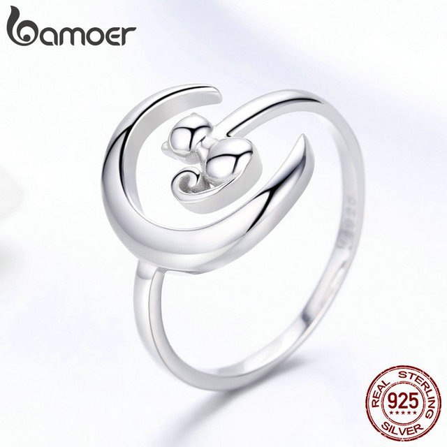 BAMOER Authentic 925 Sterling Silver Moon Cat Open Size Adjustable Finger Rings for Women Wedding Engagement Jewelry SCR451 2