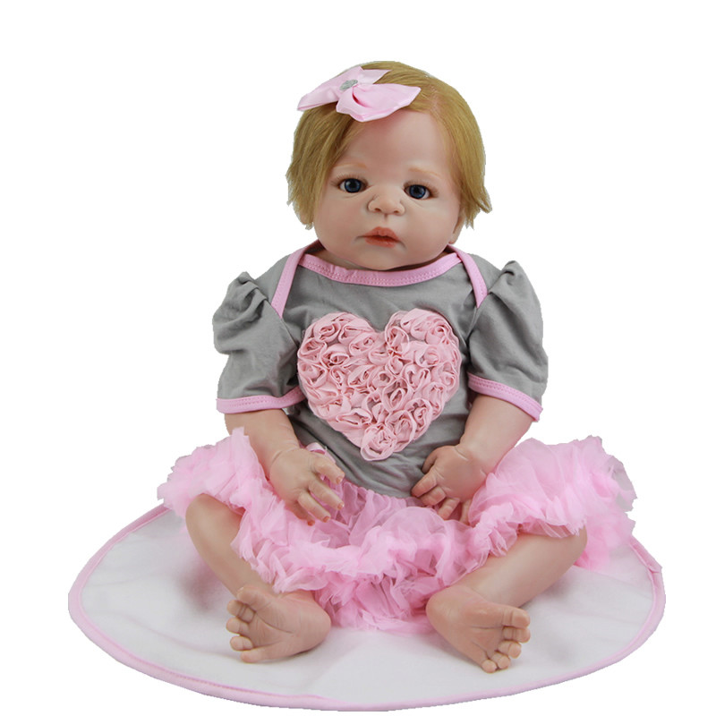 Newest Girl Doll Baby 23 Inch Full Silicone Vinyl Newborn Realistic Doll With Real Human Hair Kids Best Birthday Xmas Gift