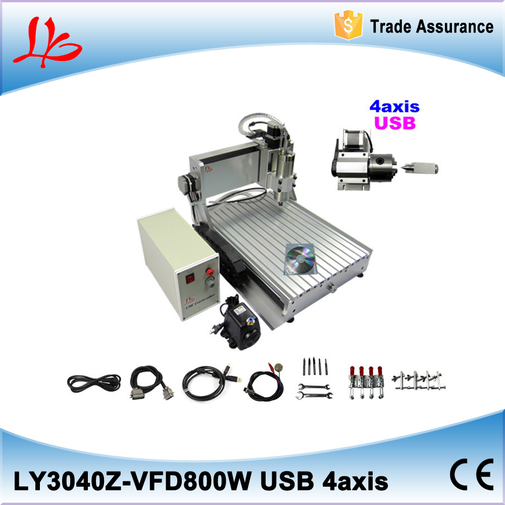 Russia tax free USB 4 axis CNC ROUTER 3040 800w spindle FOR 3D Woodworking metal engraving machine russia tax free 3d woodworking cnc router cnc 6040 4 axis cnc milling machine with spindle 500w