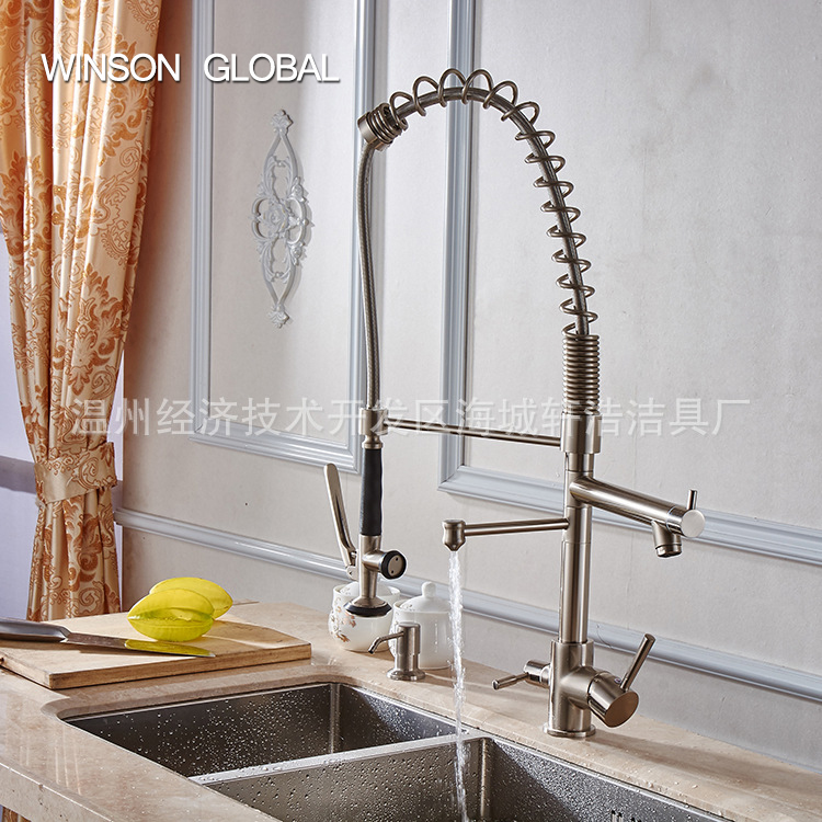 kitchen faucet spring pull down three hot water tap modern commercial sprayer purifier aerator cuisine sink faucets ICD60096