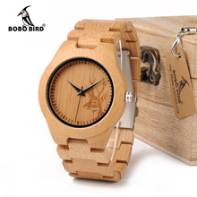 BOBO BIRD E04 Women's Elk Deer Design Dial Fashion Bamboo Watch Japan Quartz Bamboo Band Watches As Best Gift For Ladies Relojio