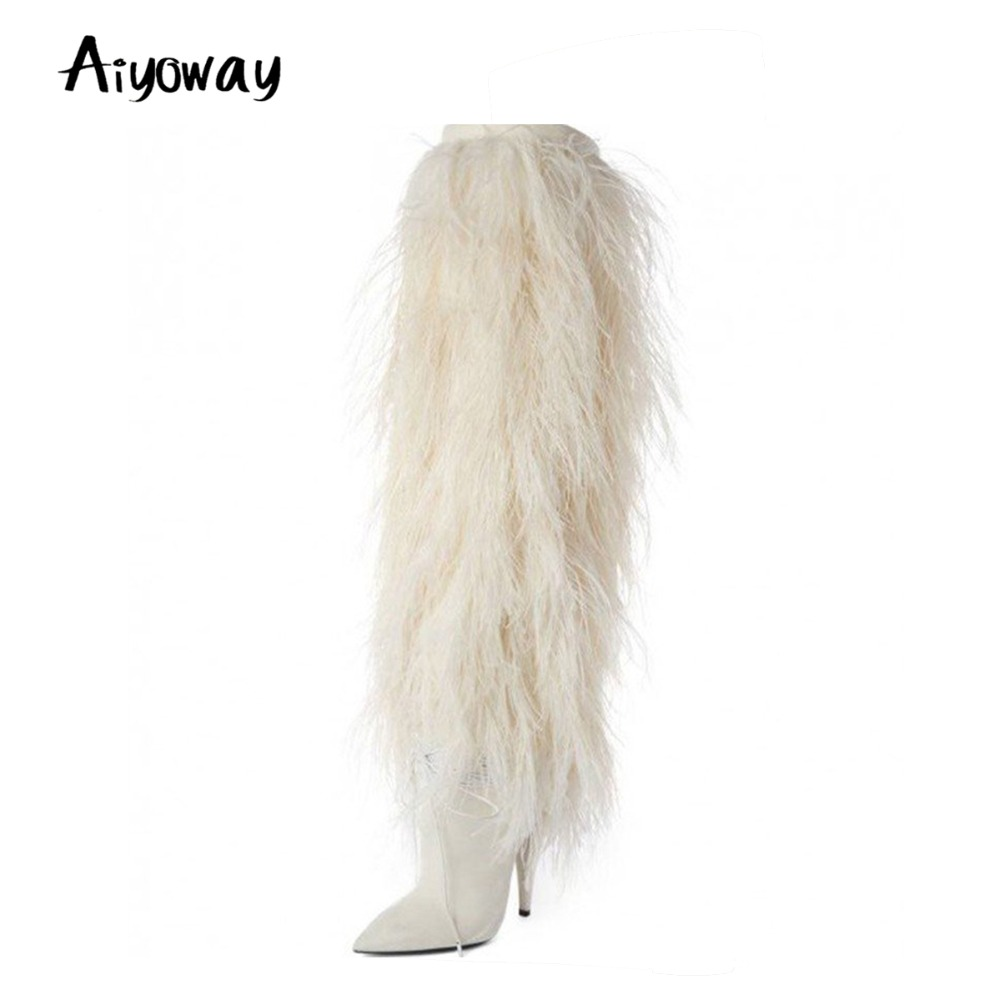 Aiyoway 2018 Women Ladies Pointed Toe High Heel Knee Boots Winter Party Clubwear Dress Boots Fashion White Faux Fur US Size 5~13 2015 2 clubwear saia