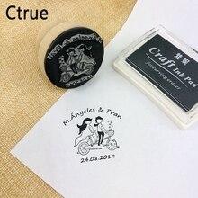 Диаметр 4,5 см персонализированное имя, дата индивидуальный логотип штамп печать с чернилами DIY конверт для приглашения на свадьбу Свадебные украшения