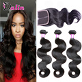 Brazilian Body Wave closure with bundles Virgin Human Hair Cheap lace Closure Unprocessed Brazilian Hair Body Wave