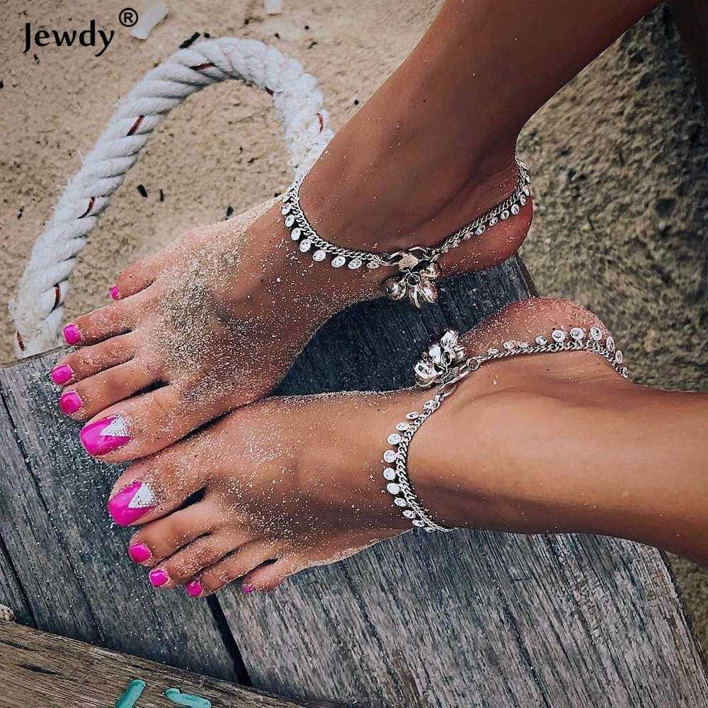 Bohemian Jewelry Antique Silver Color Hollow Flower Chain Anklets Beach Barefoot Sandals Foot Jewelry Boho Chic Anklets