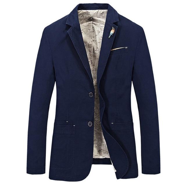 2016 AFS JEEP Brand Men's Cotton Blazer Slim Groom Suit Jacket Latest Coat Designs Solid Color Army Green Blazers Plus Size 4XL