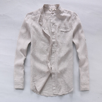 Italy Brand Pure Linen Shirts Men Long Sleeve Flax Men Shirt Summer Spring Fashion Shirt Men