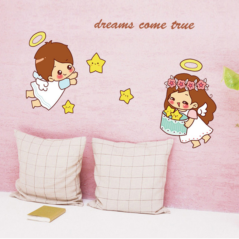 Cartoon Cute Little Angel Wall Sticker For Kids Baby Rooms Bedroom Home Decoration Decals Wallpaper Boys Girls Stars Stickers Wall Stickers Aliexpress
