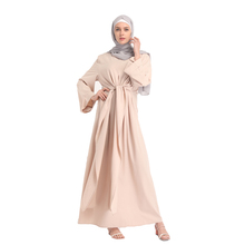 Arabic Vintage Bandage Abaya Muslim Women Chiffon Loose Long Kaftan Dresses without Scarf