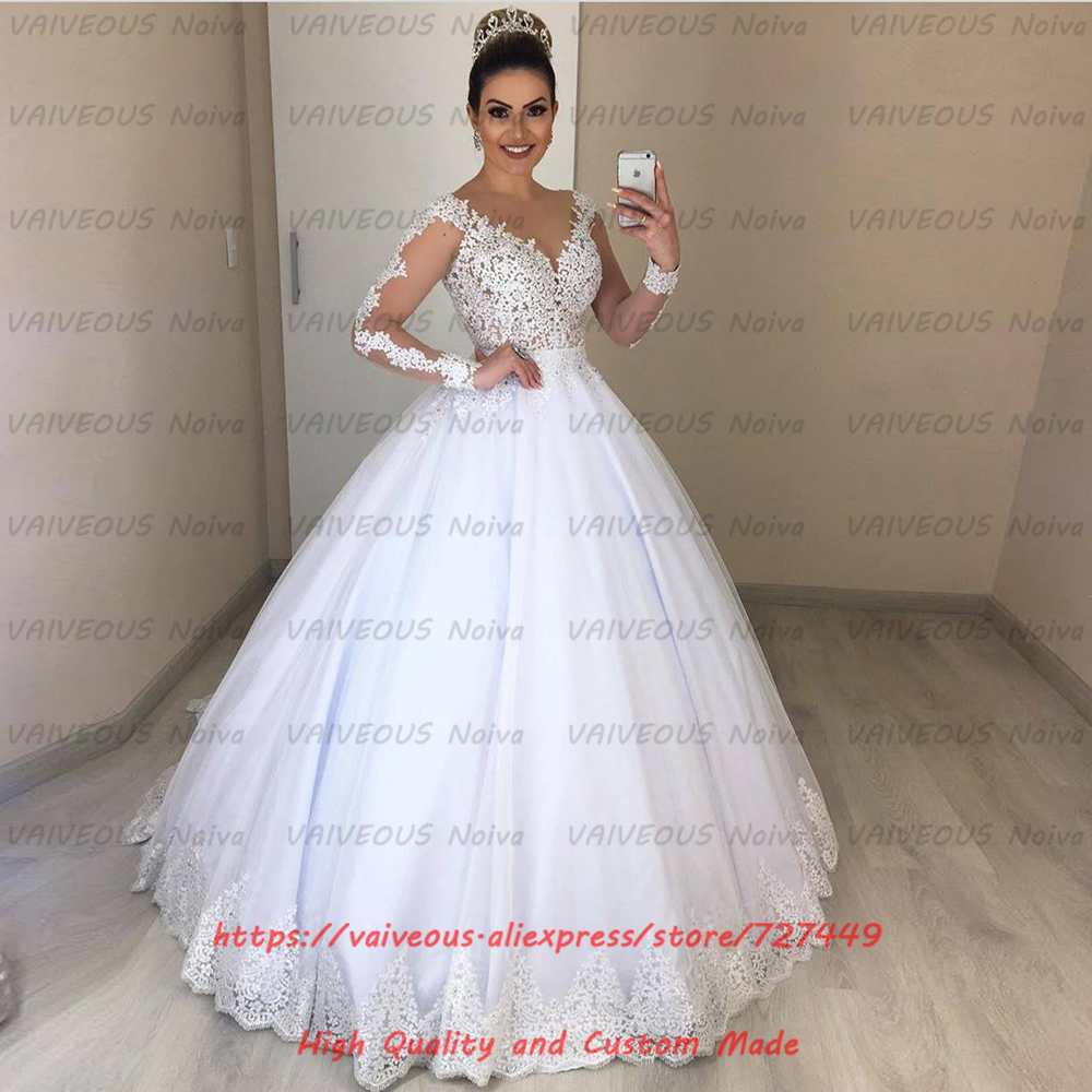 Modest Long Sleeve Ball Gown Wedding Dresses Sexy 2 In 1 Wedding