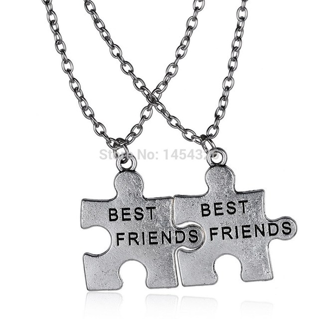 friendship letter necklaces long necklace best friend broken heart pendant  necklaces for women men vintage necklace-in Chain Necklaces from Jewelry &