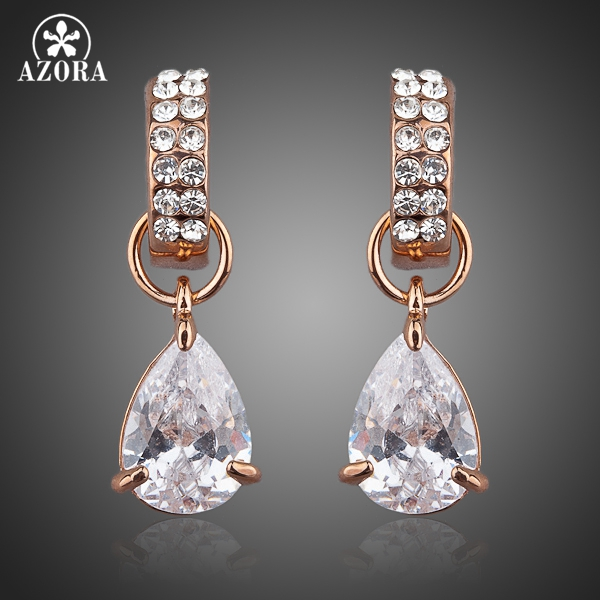 AZORA Unique Design Rose Gold Color with Transparent Cubic Zirconia Water Drop Drop Earrings TE0038 mask design drop earrings