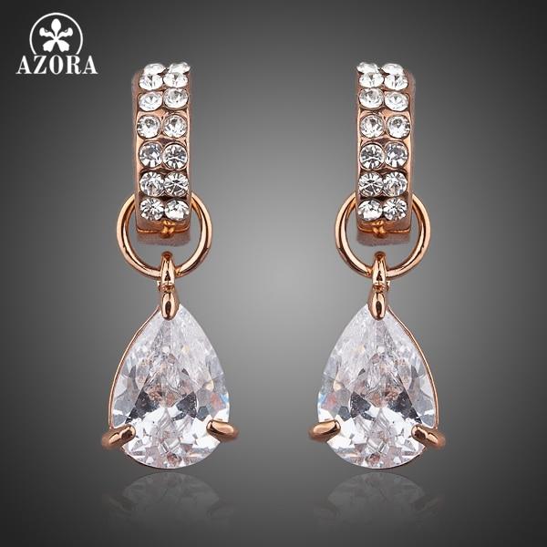 AZORA Unique Design Rose Gold Color with Transparent Cubic Zirconia Water Drop Drop Earrings TE0038 rectangle design drop earrings