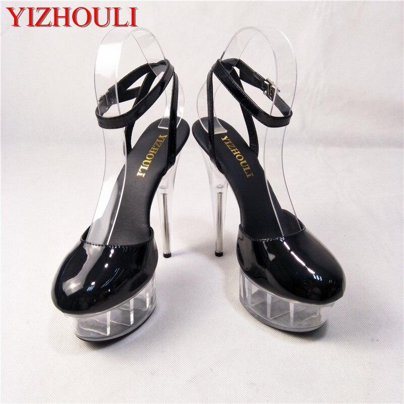 De nieuwe winkel kristal sandalen, met 15 cm hoge hakken, waren aanbevolen door de winkel eigenaar voor vrouwen trendy podium sandalen