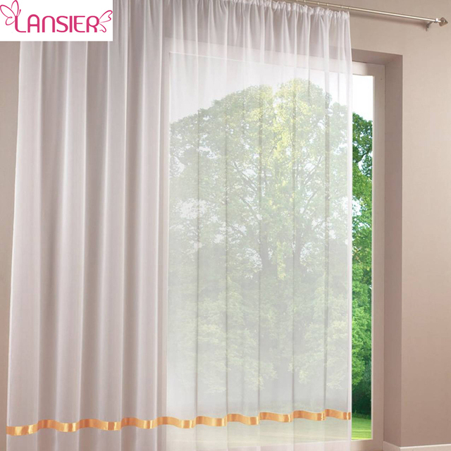 Tulle Windows Curtain Valance White Sheer Window Screening Solid Color Voile With Ribbon For Bedroom
