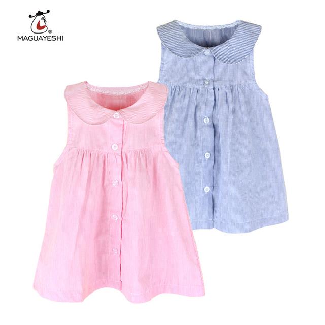 Vestidos Da Menina de verão As Crianças Se Vestem Crianças Roupas Ropa De Ninas Sleeveness vestido de verão Meninas Vestidos de Algodão Do Bebê Roupas de Menina