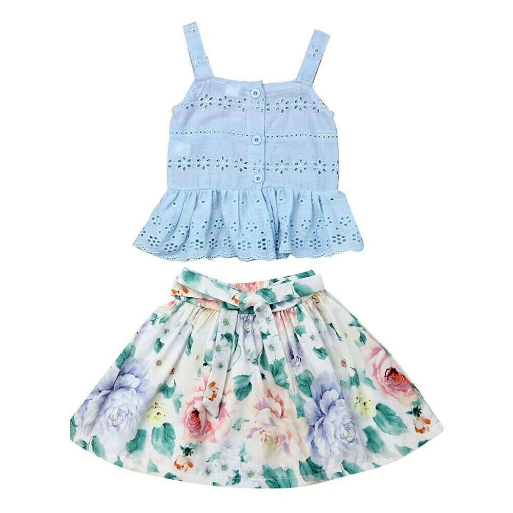 6cddc8ccdc Adorable Toddler Kids Baby Girls Floral Clothes Sets 0-5Y Lace Vest Tops  Short Skirt