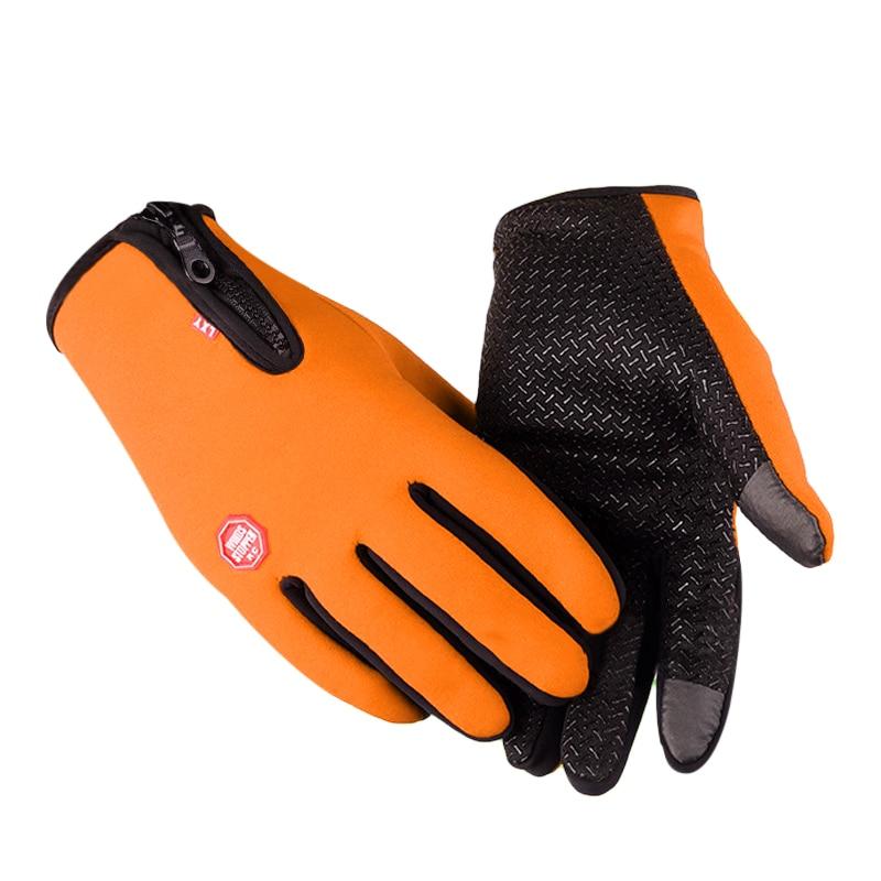 New Winter Gloves Men Women Warm Outdoor Ski Gloves Unisex Screen Gloves Male Zipper Wrist Full Finger Mittens F3