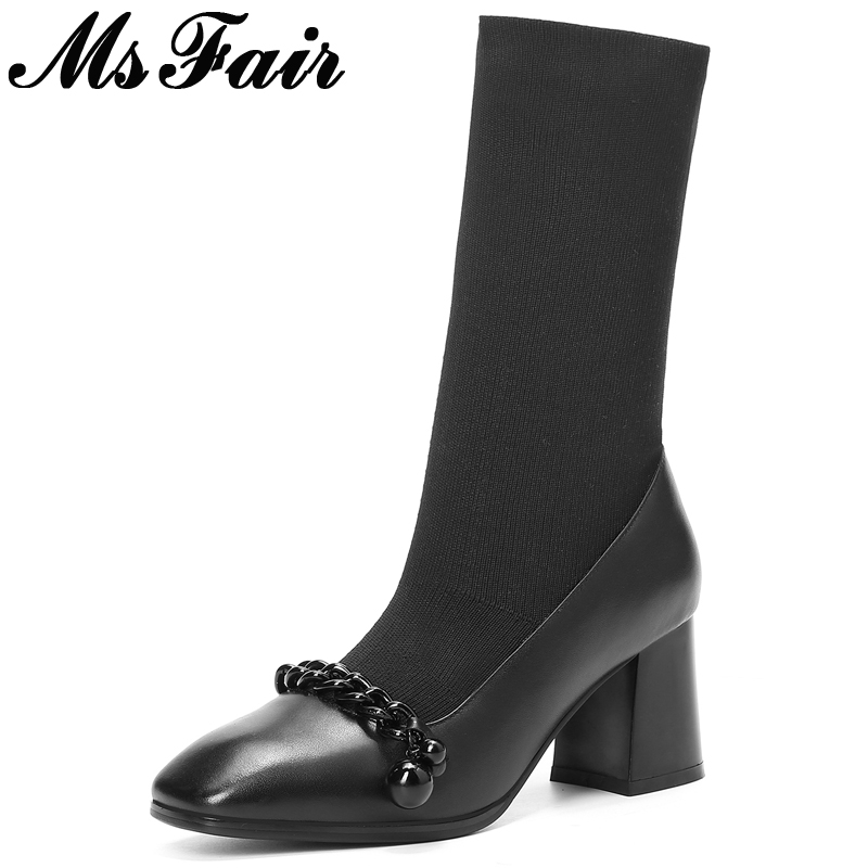 MsFair Square Toe High heel Women Boots Fashion Square Heel Ladies Ankle Boot 2017 Winter Knitting Short Plush Women's  Boots double barrel toddler boys s andy cowboy boot square toe