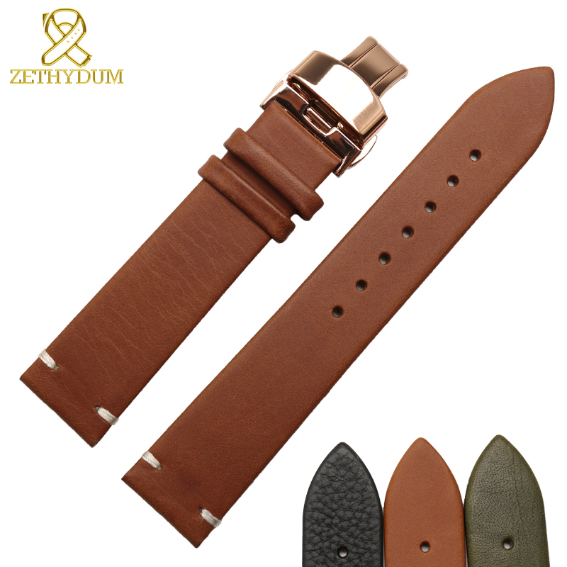 Genuine leather watch belts watchband 14 16 18 20 22mm wholesale stitched laether black brown watch strap butterfly buckleGenuine leather watch belts watchband 14 16 18 20 22mm wholesale stitched laether black brown watch strap butterfly buckle