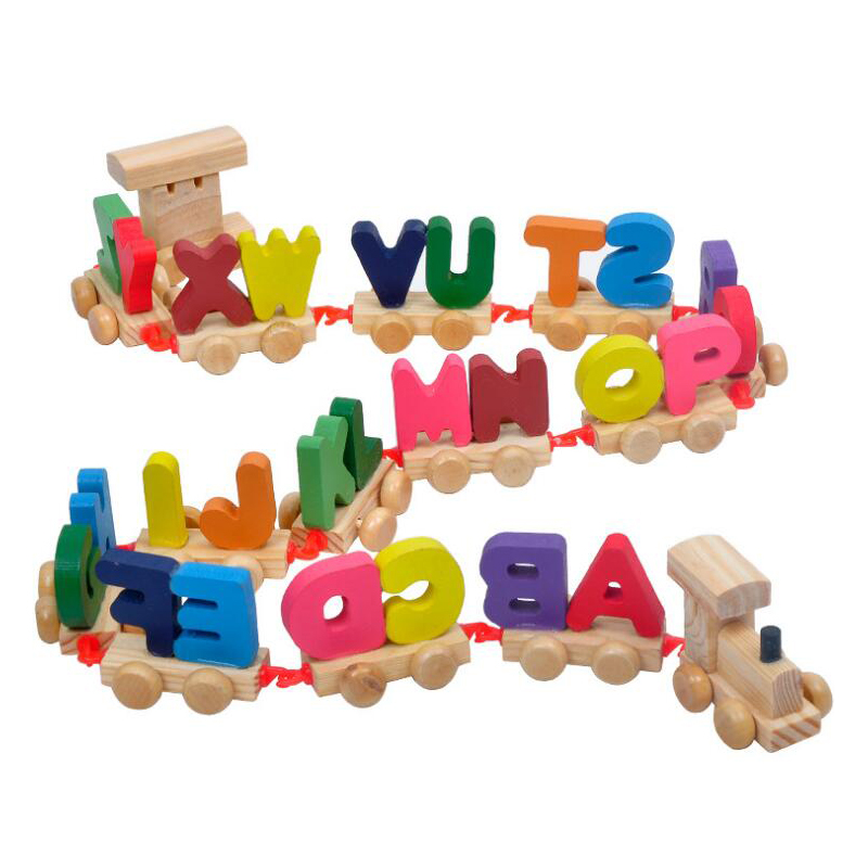MagiDeal Kids ABC Leaning Toys Pull Along Train With 26
