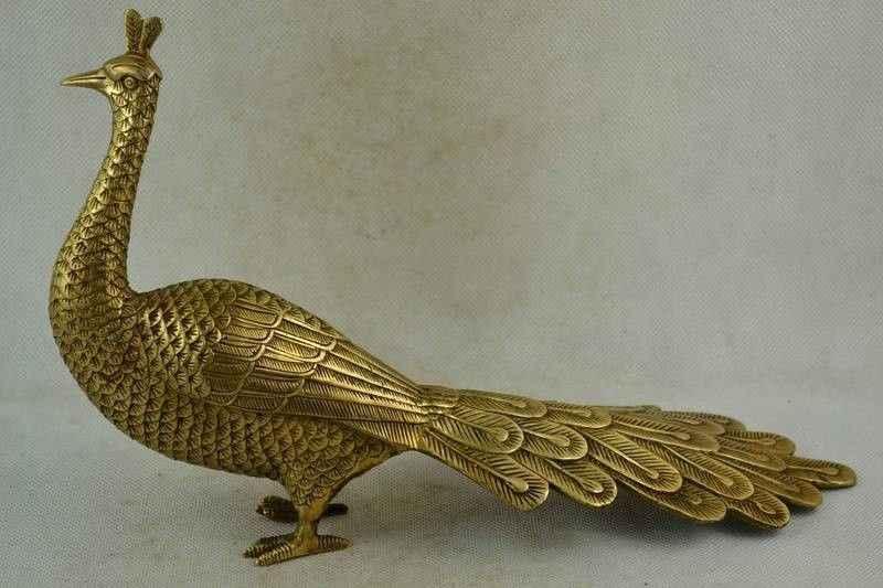 29 CENTÍMETROS Chinês Velho Handwork Copper Carving UM Pavão Realista ferramentas casamento Nobre Estátua De Bronze Decoração BRAAS