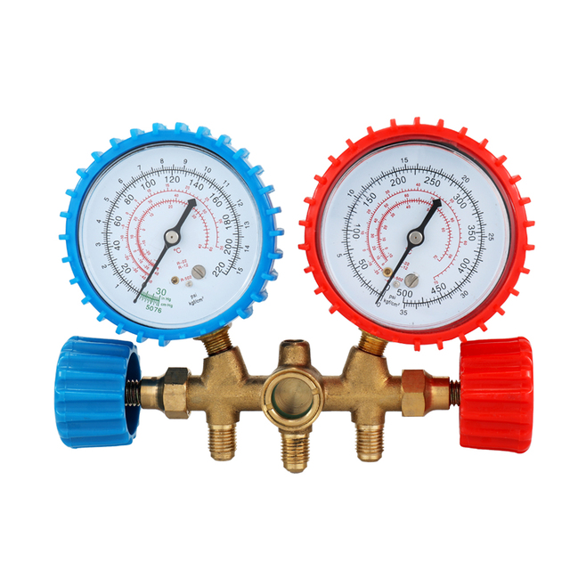 CT 536 Refrigerant Manifold Gauge Set Air Conditioning Tools with Hose and Hook for R12 R22 R404A R134A|Pressure Gauges|   -
