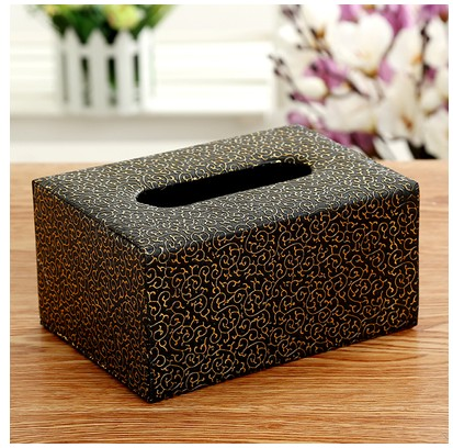 Home Car Bling Acrylic Paper Towel Box Napkin Cover Tissue Case-Brown