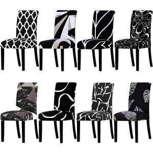 All Black Color Design Chair Cover Washable Removable Big Elastic Seat Covers Stretch Slipcovers Used For Banquet Hotel Home(China)