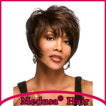 Medusa hair products: Synthetic african american wigs Stunning shag styles Short straight Mix color wig with bangs SW0124A