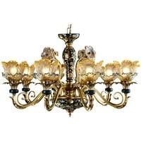 Вилла ЛЕСТНИЦЫ все медные люстры большие люстры светодиодные фонари современный Стекло люстра французской антикварной Стиль люстры