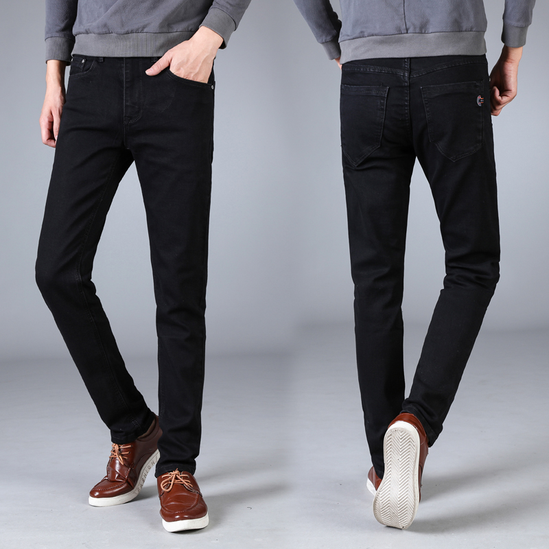 Mens cotton straight pants fashion mens casual Slim mens business casual stretch pants classic wild jeans