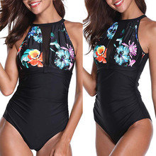 7c2f2dcade1eb Bikinis 2019 Women One-Piece Flower Print Keyhole Mesh Halter Plunge Ruched  Monokini Swimwear Swimwear