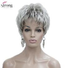 StrongBeauty женский парик короткий прямой стрижка Пикси натуральный Хай синтетический монолитный парик Серый/Красный
