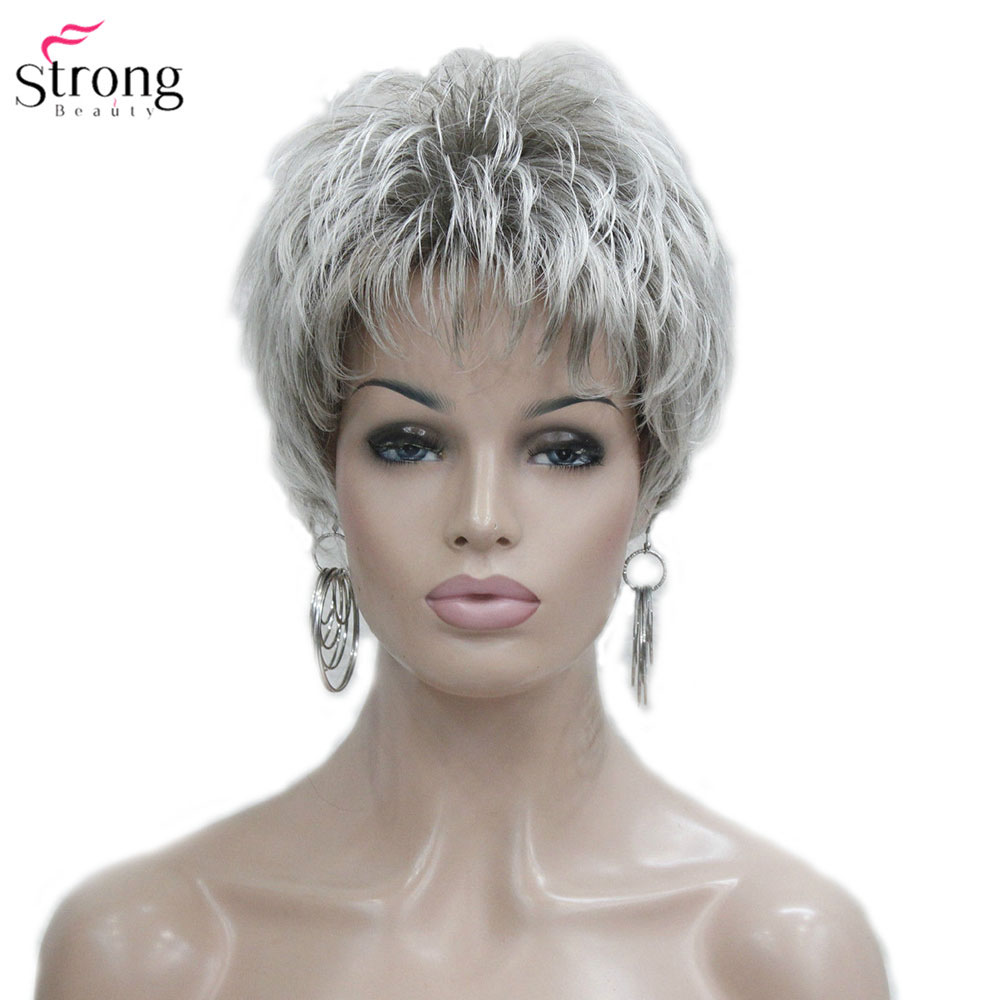 StrongBeauty Women's Wig Short Straight Pixie Cut Natural Hai Synthetic Capless Wig Gray/Red-in Synthetic None-Lace  Wigs from Hair Extensions & Wigs