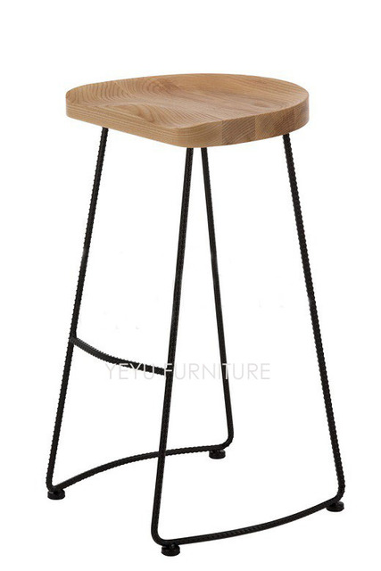 Minimalist Modern Design Solid Wood and Metal Steel Leg Fashion Popular Bar Stool  Home Commercial