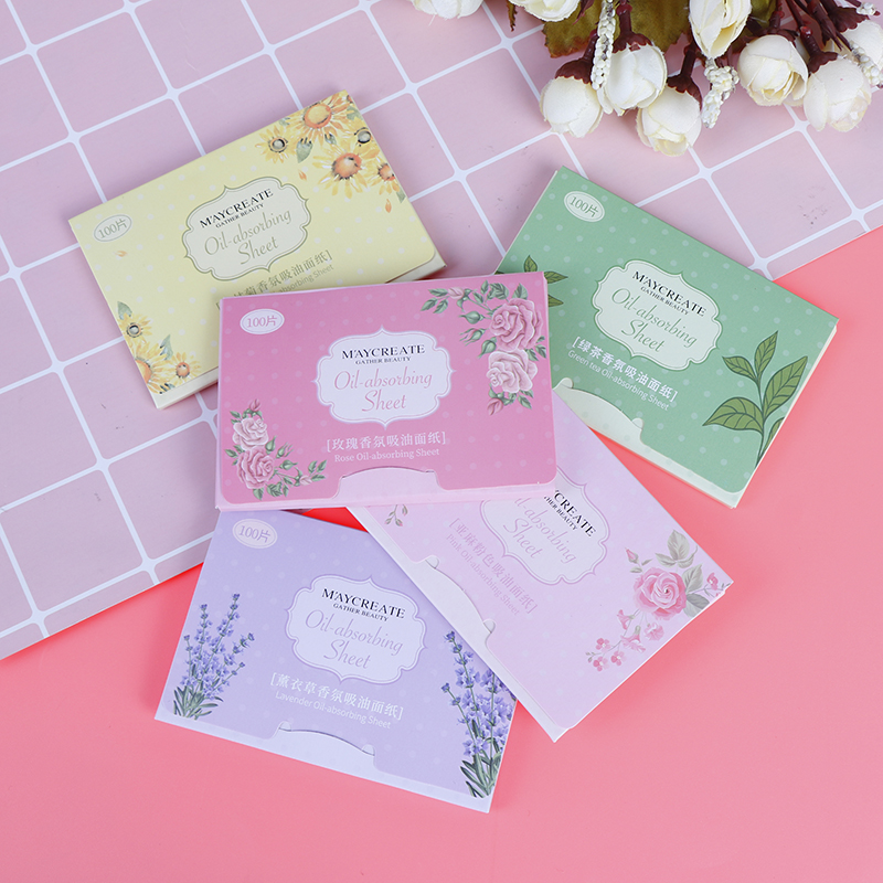100Pcs Unisex Absorbing Sheet Oily Face Blotting Matting Tissue Protable Facial Absorbent Paper Oil Control Wipes