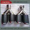 Одна пара Inlet63mm-Outlet 89 мм (Двойной) для AKRAPOVIC АК углеродного волокна кончик хвоста хвост выхлопной трубы для BMW для Volkswagen для Benz