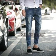Men 2016 Spring Autumn New pattern men's hole scratch jeans male Pencil cowboy pants menswear cotton zipper denim trousers F025