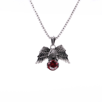 Vintage Punk Eagle Pendant Necklace Gothic Red Stone