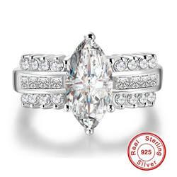 Большой Лидер продаж роскошные огранка маркиз 3 карат Имитация алмаз обручальное кольцо для Для женщин имеют S925 логотип реальная 925