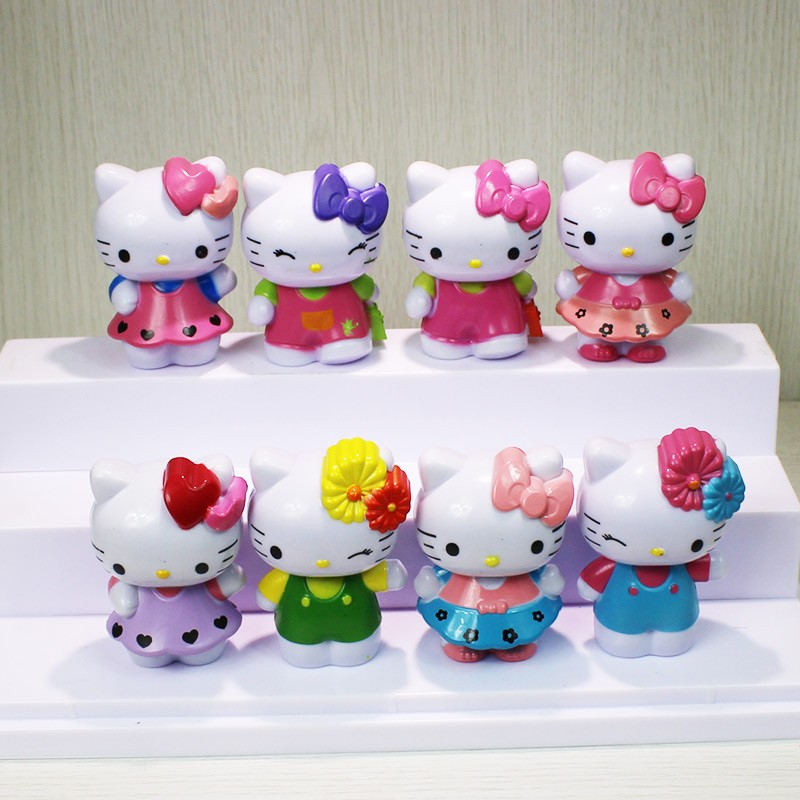 Creative 10sets Cartoon Hello Kitty Pvc Figure Toys Dolls 8pcs/set Christmas Gift Child Toys Toys & Hobbies