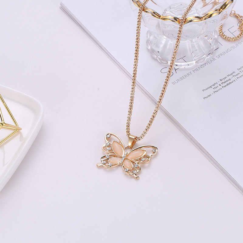 Rose Gold Opal Butterfly จี้สร้อยคอคริสตัล Hollow สร้อยคอยาวผู้หญิงแฟชั่น Lady Chain Gift Charm สร้อยคอ