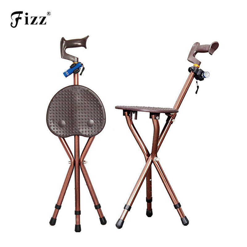 Adjustable Folding Walking Cane Chair Stool Massage Walking Stick with Seat Portable Fis ...