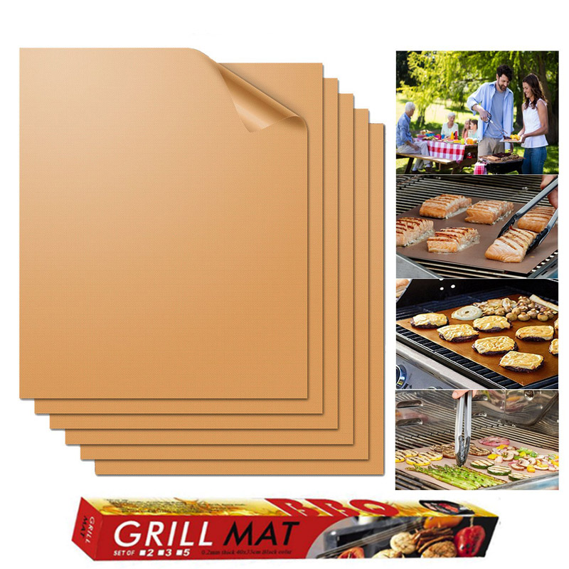 2pcs/5pcs/6pcs BBQ Grill Mat Non-stick Barbecue Baking Liners Reusable Cooking Sheets PTFE Bakeware Sheet Easy Clean GBBQ01