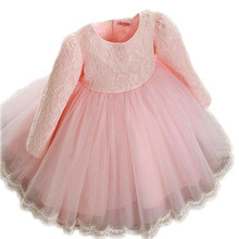 2016 New summer and autumn Princess Girls Party Dresses for party baby fashion Pink Tutu dress Girls Wedding Dress kids dress
